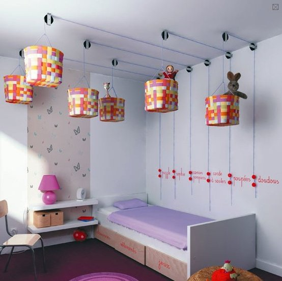 Cool DIY Home Improvement: Kids Room Storage on the Ceiling