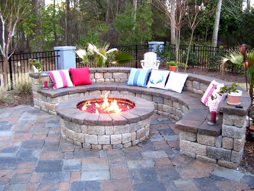The bench around the fire pit is great with the pillows you could