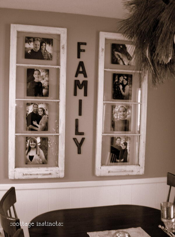 Diy home decor use old windows as new photo frames for Home interiors new name