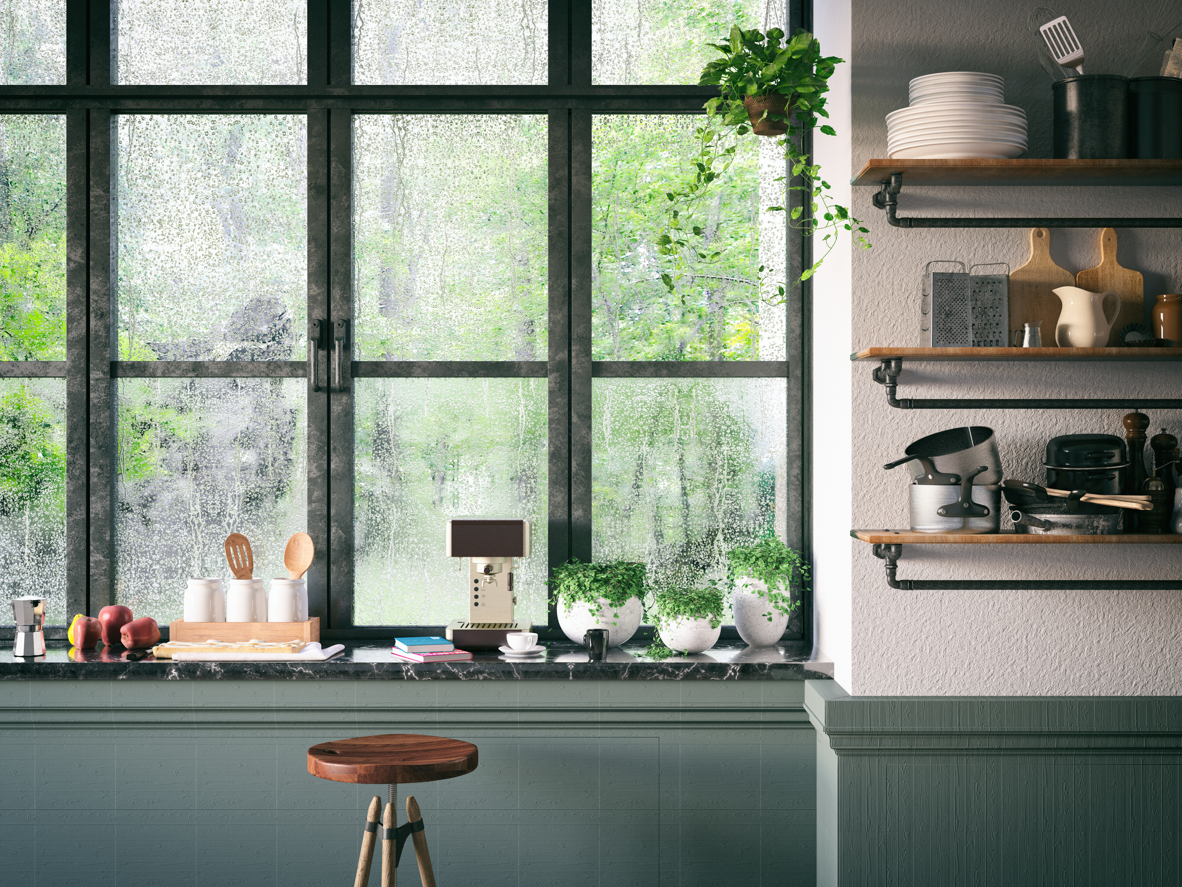 modern kitchen with plants